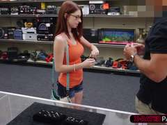 Girl with glasses fucks for cash at shop due to fake ring from boyfriend