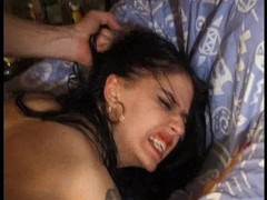 French brunette fucked by a huge cum cannon