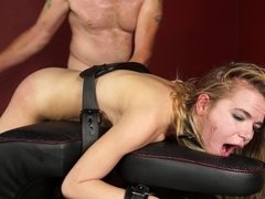 Alina West strapped down and fucked hard from behind by her master