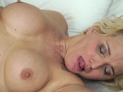 Blonde mature lady loves young dude's cock inside her cunt