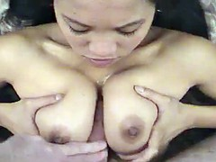 Aroused young Asian slut gives a really naughty blowjob