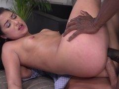 Attractive secretary enjoys interracial threesome