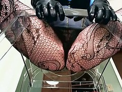 Point of view Of Dominant Woman In Fishnets