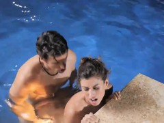Hot babe Julia Roca gives head and banged by the pool