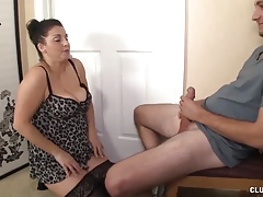 Busty milf jerking a cock