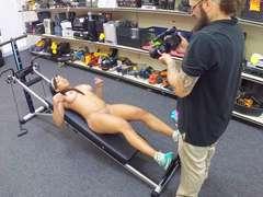 Black muscular gym trainer deepthroat head in the pawnshop