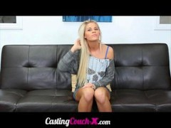Aroused blonde girl trys out for her first audition She enjoys getting a gob load of cum on her face