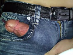 Jerking off in  jeans with a huge cum load at the end