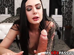 Smoking hot brunette Marley Brinx shows her sucking skills