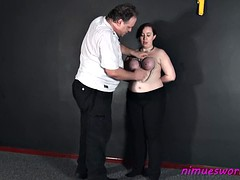 Chubby amateur submissives breast bondage and english slave