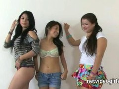 Three True amateur girls kissing and besides licking their yummy wet cum buckets in this lesby sex audition movie