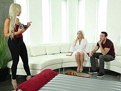 Amerikanisch, Blondine, Frau frau mann, Deutsch, Gruppe, Massage, Tätowierung, Flotter dreier
