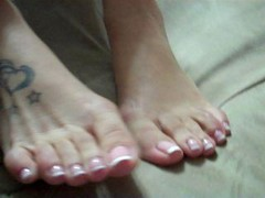 young-looking latina feet french pedicure