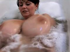デカパイ, 淫乱熟女, シャワー, オッパイの