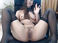 Sexy stockings and hairy cunt