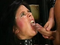 Hardball man pisses down into dirty prostitute's throat right before getting powerful orgasm