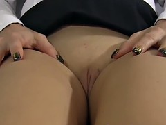 Girl teaches you all about her vulva with upskirt no panties