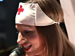 Hot stripper nurse dildoing herself