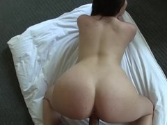 Cute chick Cali Hayes boning his big dick in POV