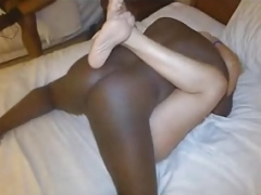 Black Ball cream in Slut Wife Vagina.