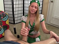 Blonde Girl Gives A Hand