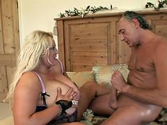 Horny BBW in her sexy underwear gets humped by older guy