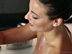 Beautiful lesbian sex in the bathroom after the street workout