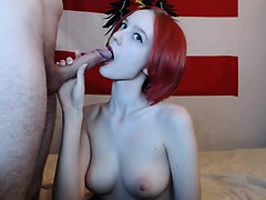 Lovable redhead with excellent breasts jizzed and banged