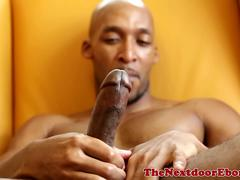 Ripped ebony hunk solo striptease and juice