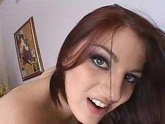 Sperma shot, Schattig, Europees, Hardcore, Panty, Roodharige vrouw, Slikken, Tiener