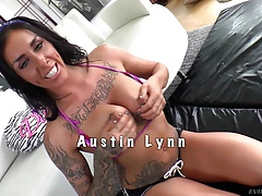 Dominating beauty licks her slaves balls