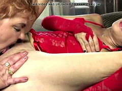 Pissing and double fuck for big granny from two girls