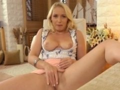 Blonde, Tir de sperme, Masturbation, Solo