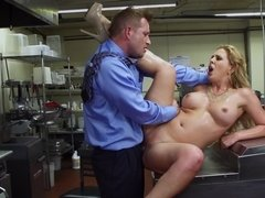 A blonde is having fun in the kitchen and her pussy is licked and fucked