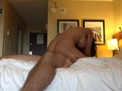 Luna Star rides his dick in a homemade hotel sex tape