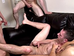 gay orgy ends in a climax on Travis Irons