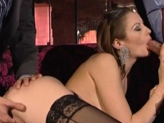 Hard double penetration fucking with the slutty blonde model