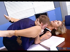 Tattooed Blonde Babe gets it at Work
