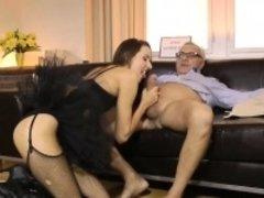 Tutu wearing brit babe pussyfucking oldman