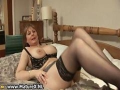Aroused mature wife in sexy lingerie loves part1