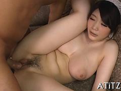 Asian wife with big hot tits fucked by tanned dude