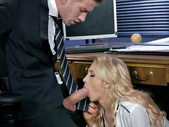 Gorgeous Blonde at Work