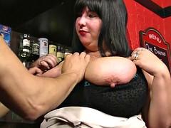 He fucks big boobs barmaid from behind