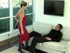 Female in red blowing off and plus making love