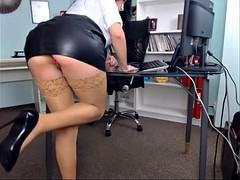 Beauté, Bureau, Collant, Sous la jupe, Webcam