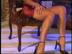 Hot blonde rubs her deluxe tits and fingers her tight
