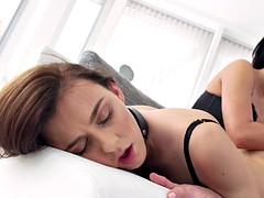 Beautiful brunette has lezdom sex toy sex