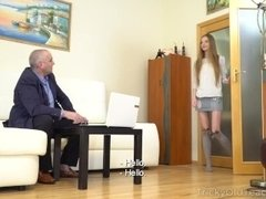 Tricky Old Teacher - Sexy babe gives her old teacher a fantastic blowjob