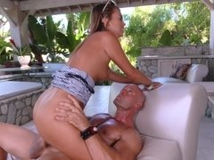 A brunette screams loudly while her cunt gets fucked deeply by cock