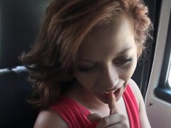 Sexy lady flashes tits and pounded in the car for money